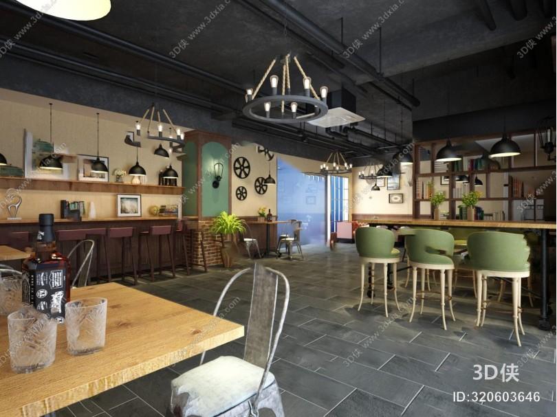 工业咖啡厅3D模型