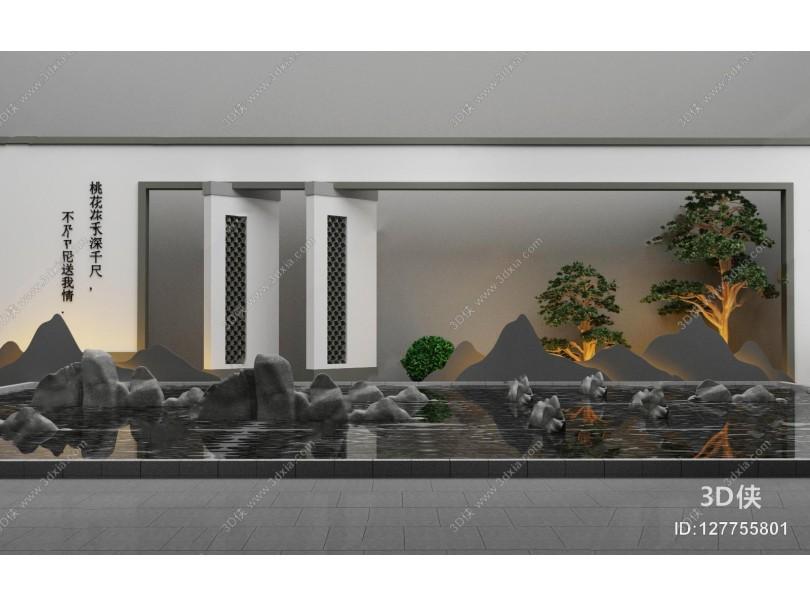 新中式石头水景牌坊组合3D模型