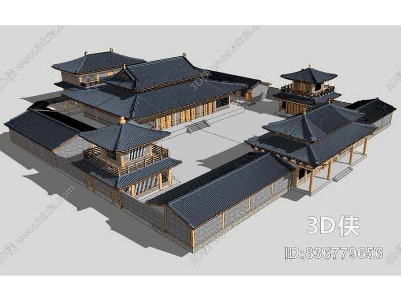 中式古庙SU模型