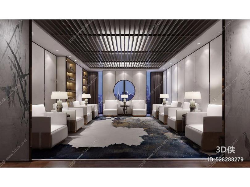 新中式贵宾接待室 新中式接待区 单人沙发 茶几 台灯 书柜 屏风 饰品摆件