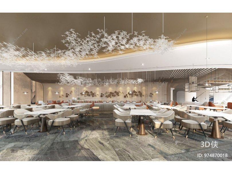 现代流行现代酒店自助餐厅国外3D模型下载