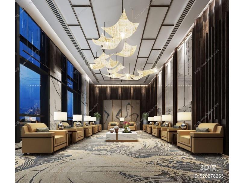 新中式接待室 新中式接待区 单人沙发 边几 吊灯 台灯 茶几 屏风 办公地毯 会议室 接待室 艺术吊灯