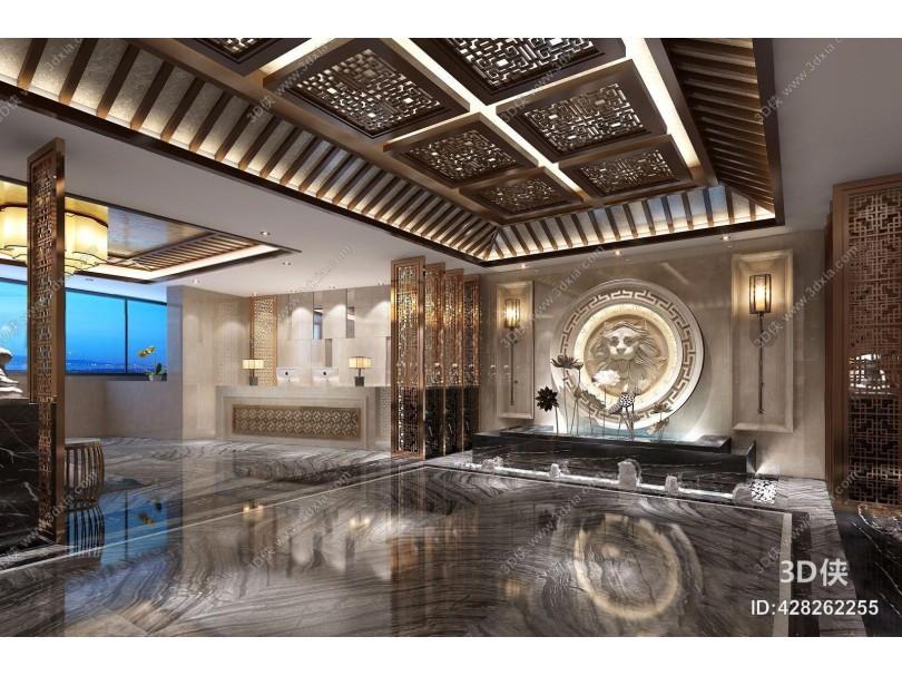 新中式酒店大厅 新中式大堂 荷花 前台 壁灯 雕塑 隔断 吧台 台灯 圆凳 多人沙发