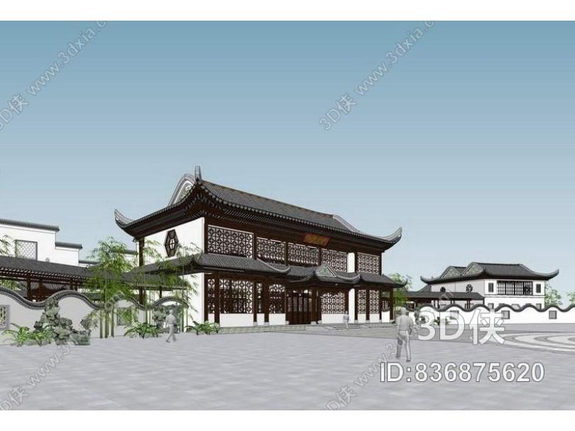 江南中式建筑SU模型