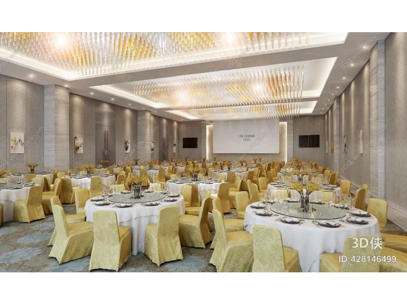 现代宴会厅 现代宴会厅 吊灯 餐桌椅 餐具摆设 地毯 挂画