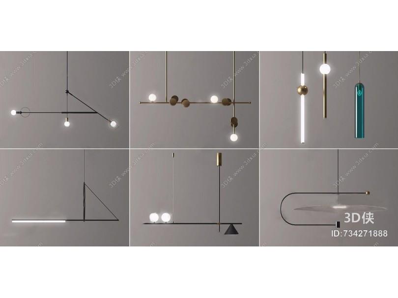 现代吊灯组合 现代吊灯 金属吊灯