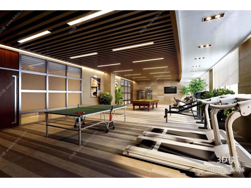 现代健身房 现代其他 健身房 乒乓球桌 跑步机 台球 健身器材 植物摆件
