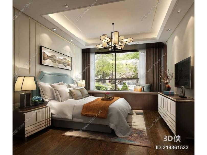 中式卧室3D模型 双人床 吊灯 床头柜 电视柜