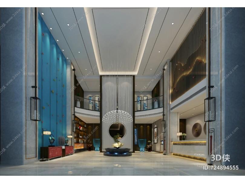 新中式大厅3D模型
