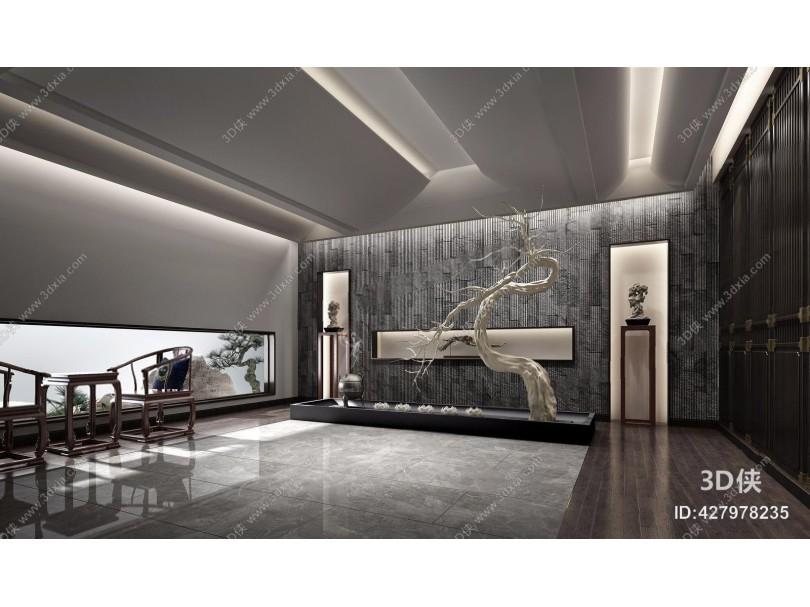 新中式禅意前厅前台大堂 新中式酒店大堂 禅意 前台 前厅 干枝 雕塑摆件 背景墙 新中式单椅 边几