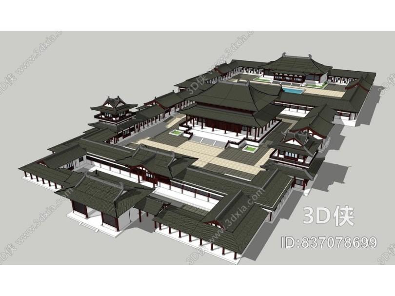 中式古建筑SU模型