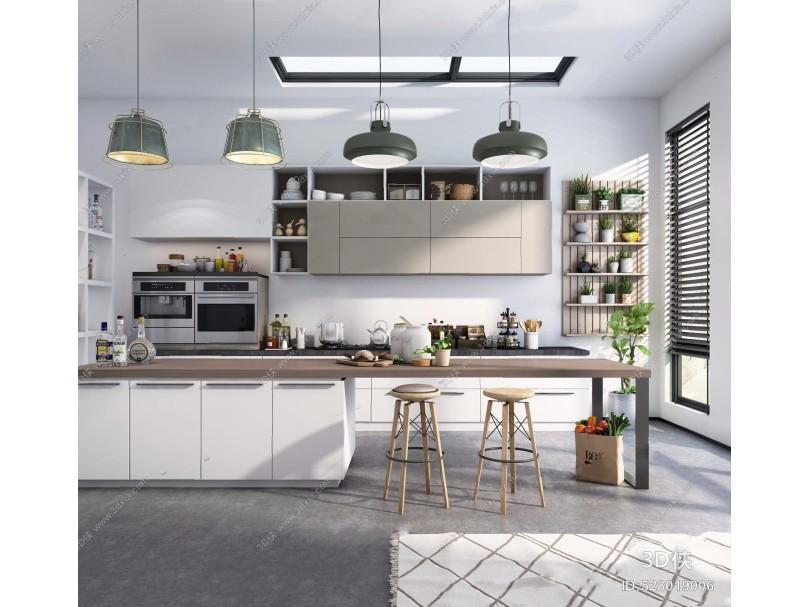 北欧厨房 北欧厨房 中岛 吊灯 吊柜 墙柜 厨具植物墙 水泥 地毯 吧椅 吧凳