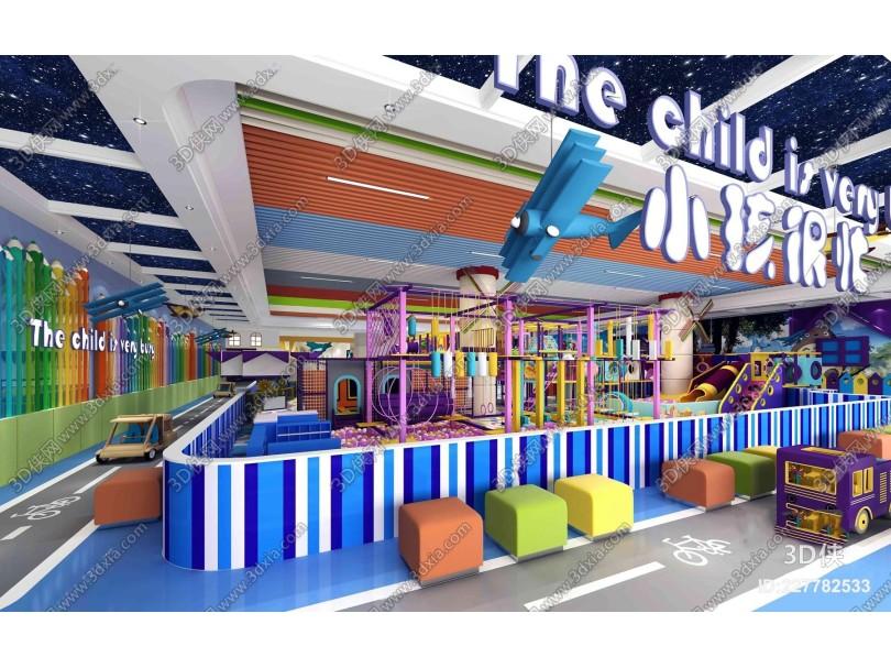 现代淘气堡儿童游乐园3D模型