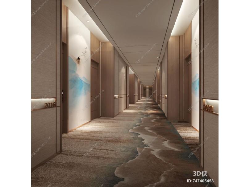 新中式酒店走廊過道3d模型