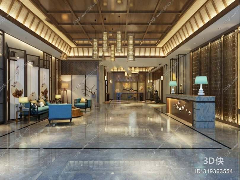中式酒店大厅3D模型下载