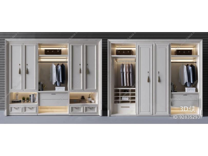 白色简欧实木衣柜 简欧衣柜 衣服 白色衣柜 简欧实木衣柜