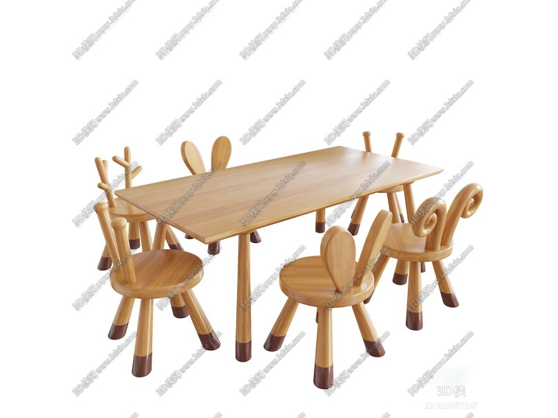 现代实木儿童桌椅3D模型