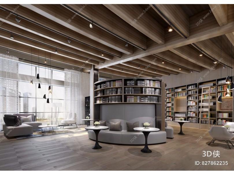 现代休闲阅读区 现代图书馆 阅读区 弧形沙发 圆几 吊顶 多人沙发 转角沙发图书 休闲单椅 休闲沙发 书架