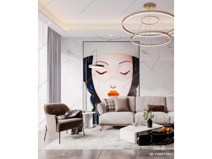 现代客厅 地毯 沙发 抱枕 挂画 吊灯 落地灯 大理石茶几 植物