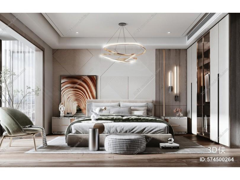 现代风格卧室 床 衣柜