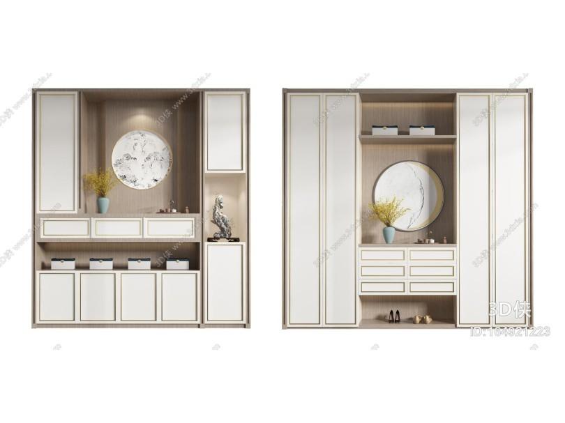 玄关鞋柜3d模型_新中式鞋柜3D模型【ID:164921223】_【3d侠模型网】