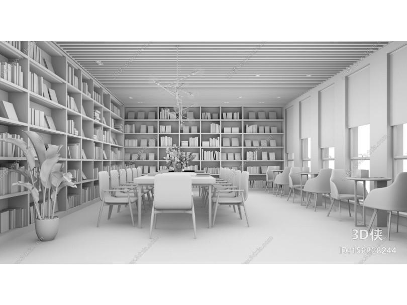 现代风格图书馆 书吧