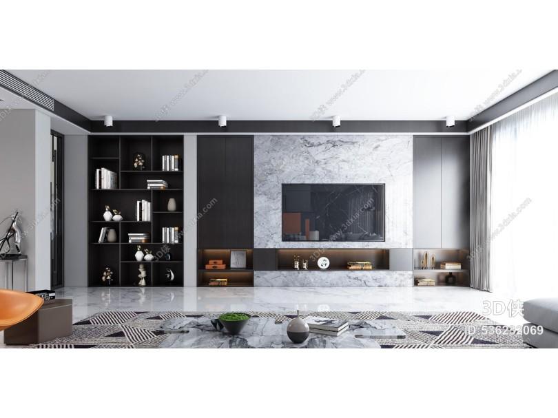 现代黑白灰客厅餐厅 沙发 餐桌 茶几 椅子 背景墙 模型