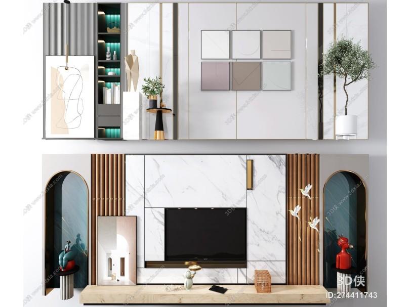 现代电视背景墙 沙发背景墙 陈设摆件