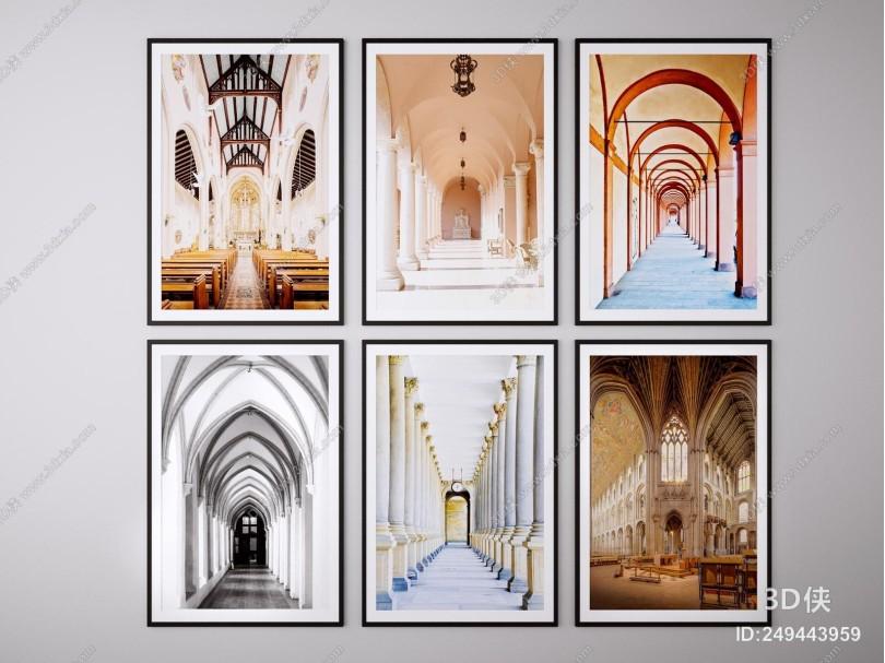 现代建筑装饰画挂画