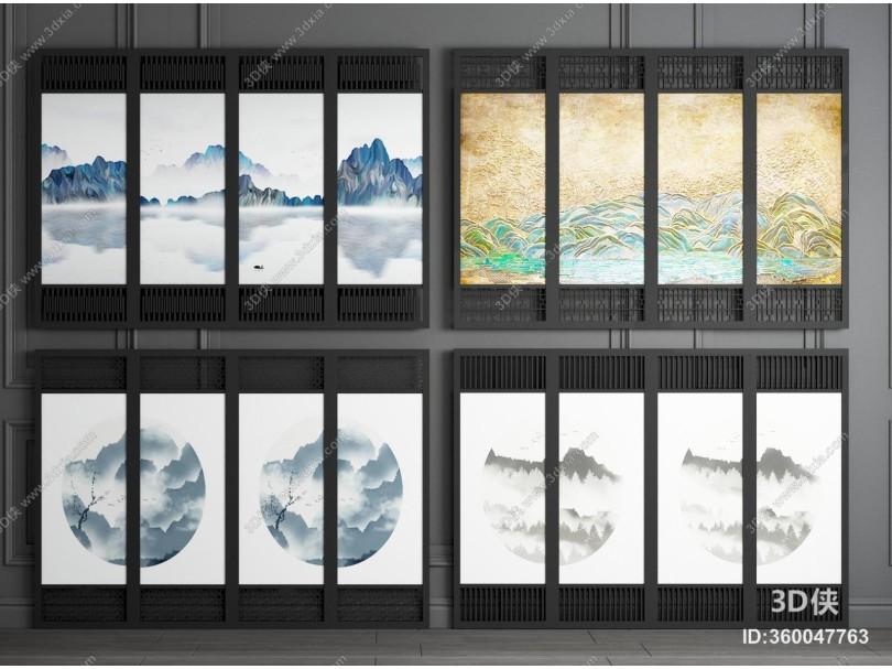 新中式山水画屏风隔断 花格屏风隔断 折叠屏风