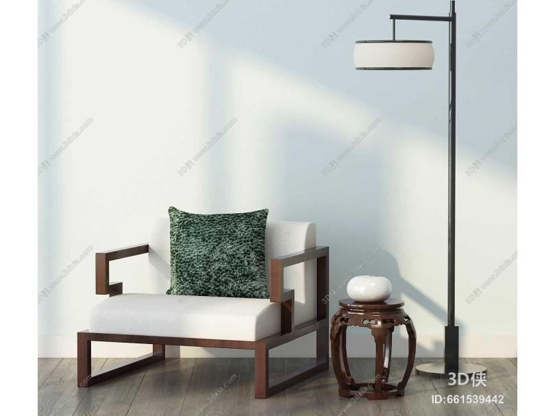 新中式单人沙发 落地灯组合