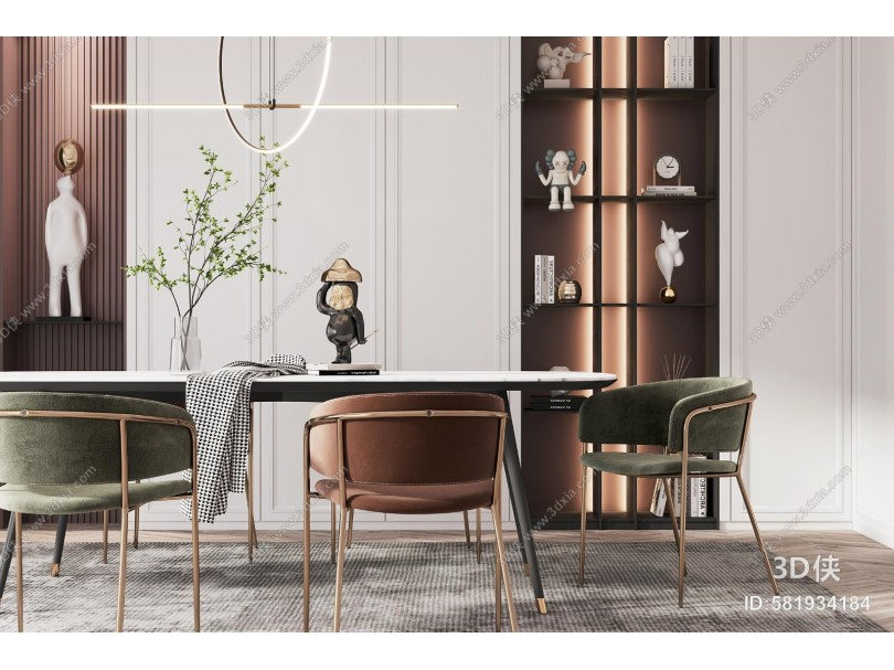 现代轻奢餐厅 餐桌椅组合