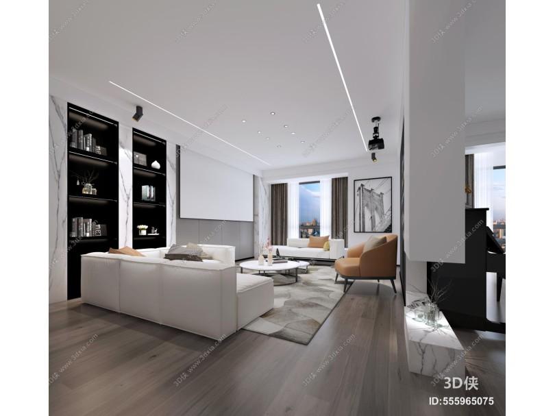 现代大平层客厅