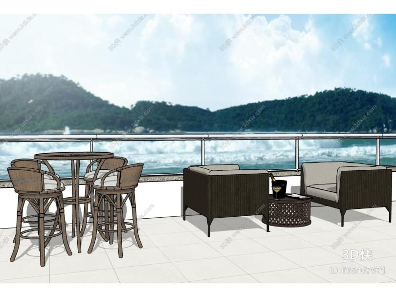 现代阳台 沙发桌椅组合