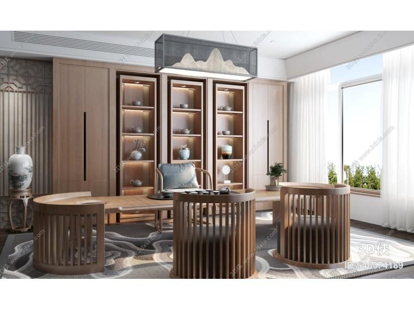 新中式茶室 茶桌 凳子