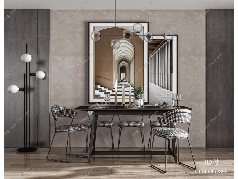 现代餐厅 餐桌椅 方形餐桌