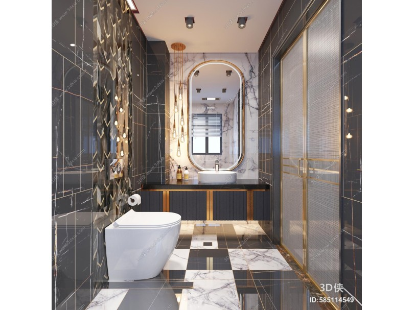 现代轻奢卫生间 浴室 吊灯 镜子