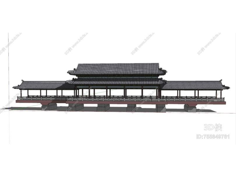 中式风格中式古建筑 廊架