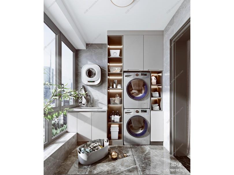 现代阳台 洗衣柜 储物柜