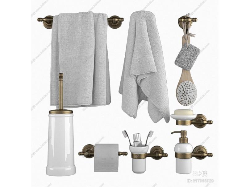现代卫浴小件 毛巾 卷纸 牙刷