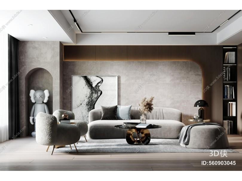 现代客厅 沙发组合 茶几 休闲椅 装饰柜 装饰品