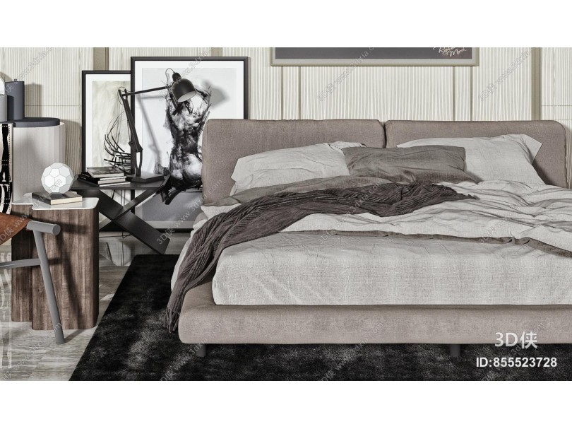 现代双人床品组合 地毯 床头柜