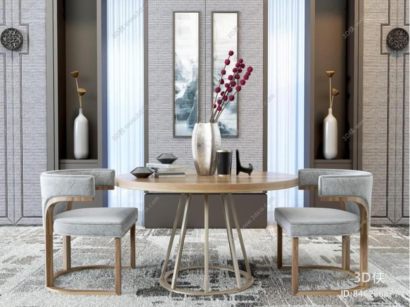 新中式风格餐厅 单人椅 背景墙