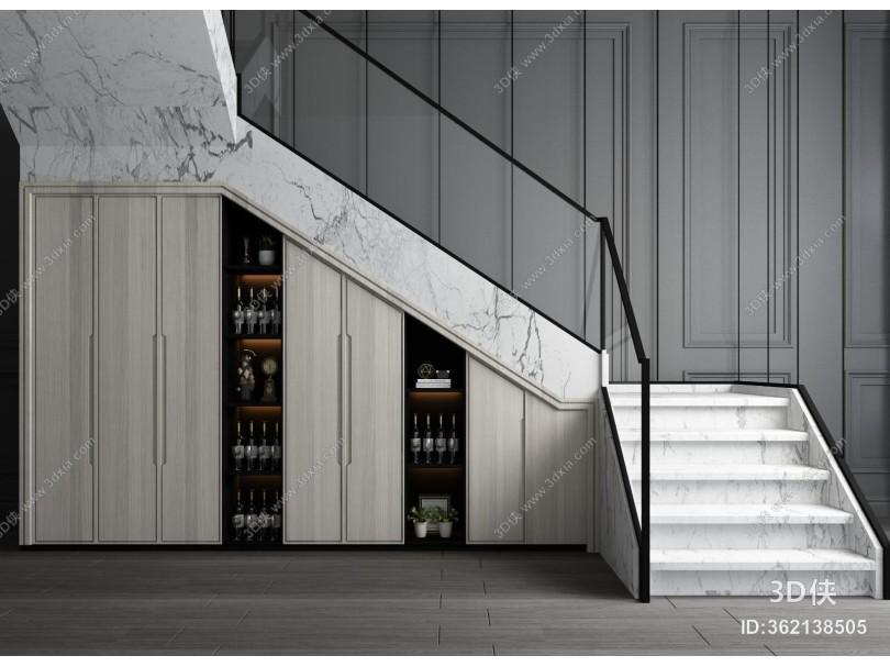 现代楼梯 储物柜 转角楼梯 楼梯储藏柜