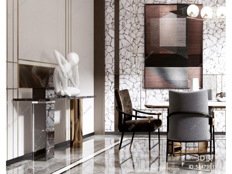 现代轻奢餐厅 餐桌 椅子 餐具 吊灯 书柜 玄关端景台 雕塑