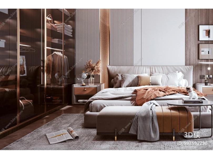 现代轻奢卧室 双人床 衣柜