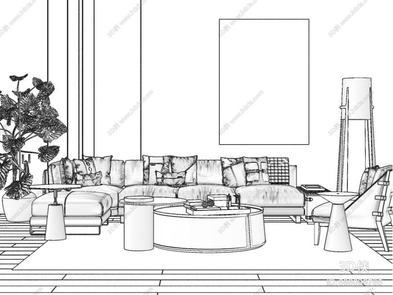 现代组合沙发 茶几