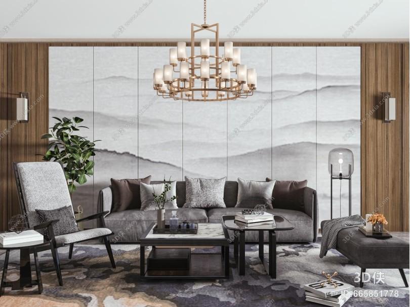 新中式沙发茶几组合 吊灯
