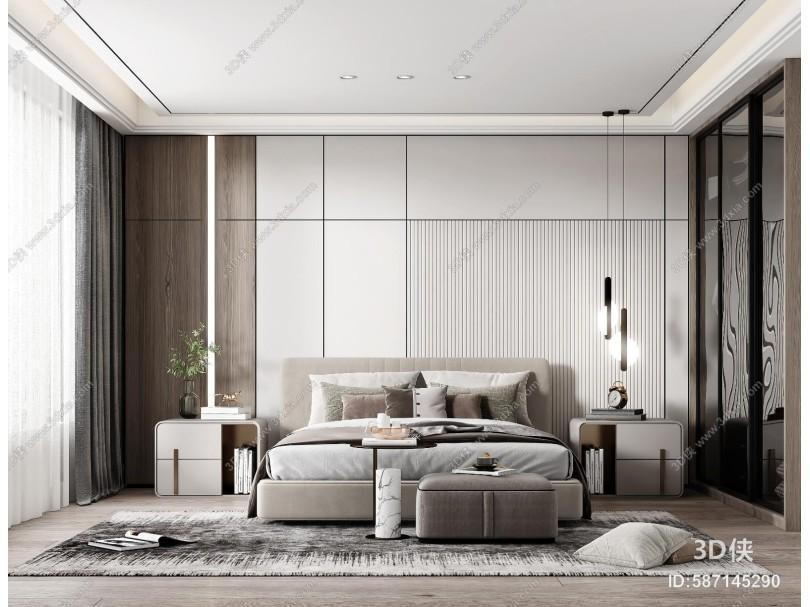 現代臥室 床組合 床頭柜 衣柜 臺燈 床尾凳 裝飾品