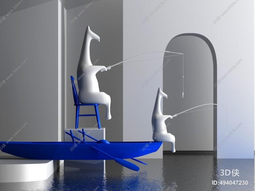 现代创意动物垂钓雕塑